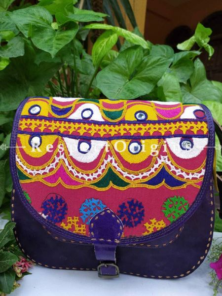 Purple Hand Stitched Cross Ladies Leather Sling Bag; Blue, Green, White and Yellow On Red Base Kutchi Mirror Embroidery Flap; RespectOrigins.com