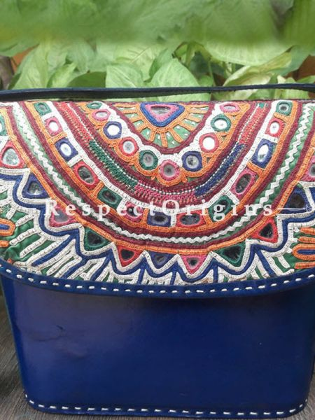 Luxurious Hand Embroidery Blue Leather Shoulder Bags; Hand-stitched & Embroidered Kutchi Mirror Work Flap; RespectOrigins.com