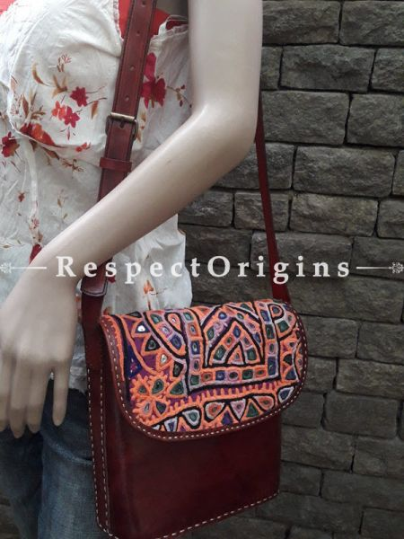 Elegant Hand Embroidery Brown Leather Shoulder Bags; Hand-stitched & Embroidered Kutchi Mirror Work Flap; RespectOrigins.com