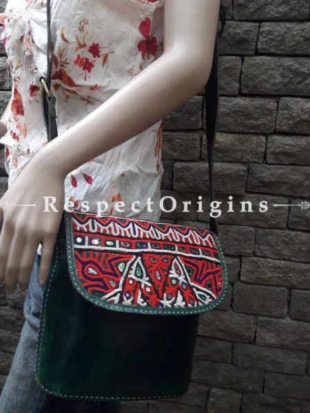 Trendy Hand Embroidery Green Leather Shoulder Bags; Hand-stitched & Embroidered Kutchi Mirror Work Flap; RespectOrigins.com