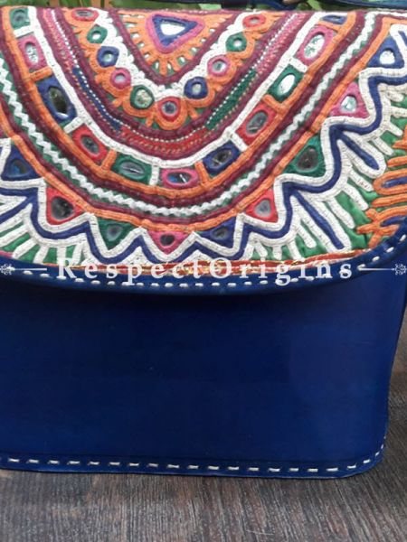 Gorgeous Hand Embroidery Blue Leather Shoulder Bags; Hand-stitched & Embroidered Kutchi Mirror Work Flap; RespectOrigins.com