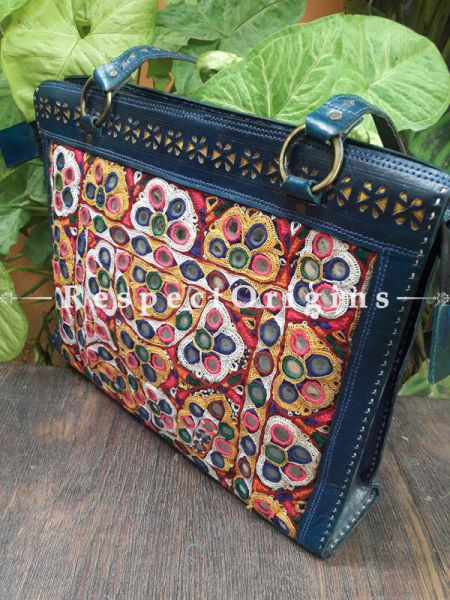 Chic Hand Embroidery Rectangular Blue Leather Shoulder Bags; Hand-stitched & Embroidered Kutchi Mirror Work; RespectOrigins.com
