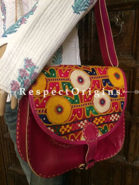 Pink Hand Stitched Cross Ladies Leather Sling Bag; Blue, Green, White and Yellow On Red Base Kutchi Mirror Embroidery Flap; RespectOrigins.com