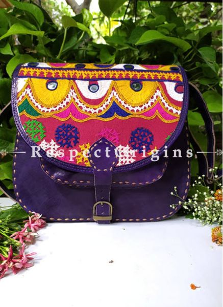 Purple Hand Stitched Cross Ladies Leather Sling Bag; Green, Blue, White and Yellow On Red Base Kutchi Mirror Embroidery Flap; RespectOrigins.com