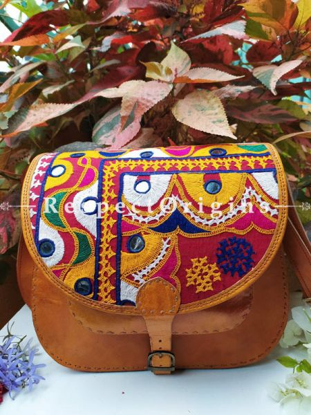 Yellow Hand Stitched Cross Ladies Leather Sling Bag; Blue, Green, White and Yellow On Red Base Kutchi Mirror Embroidery Flap; RespectOrigins.com