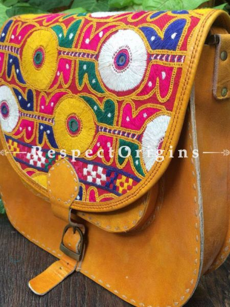 Yellow Hand Stitched Cross Ladies Leather Sling Bag; Yellow, White, Green and Blue On Red Base Kutchi Mirror Embroidery Flap; RespectOrigins.com
