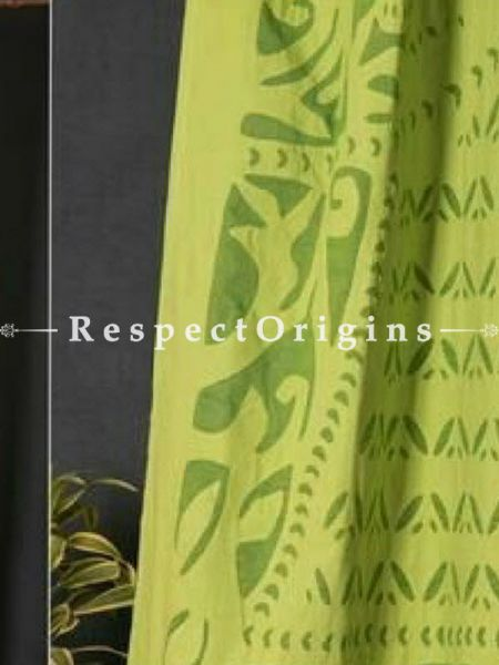 Buy Lovely Lady With Floral Design Green Applique Cut Work Cotton Window or Door Curtain; Pair; Handcrafted At RespectOrigins.com