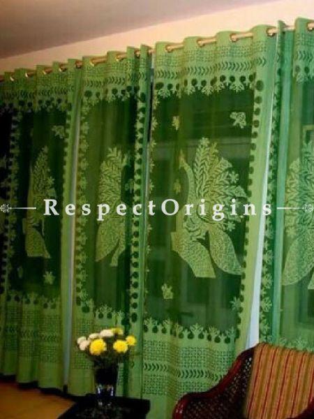 Buy Green Peacock Design Applique Cut Work Cotton Window or Door Curtain; Pair At RespectOrigins.com