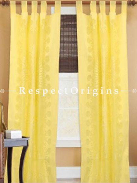 Buy Yellow Tree Floral Design Applique Cut Work Cotton Window or Door Curtain; Pair; Handcrafted At RespectOrigins.com
