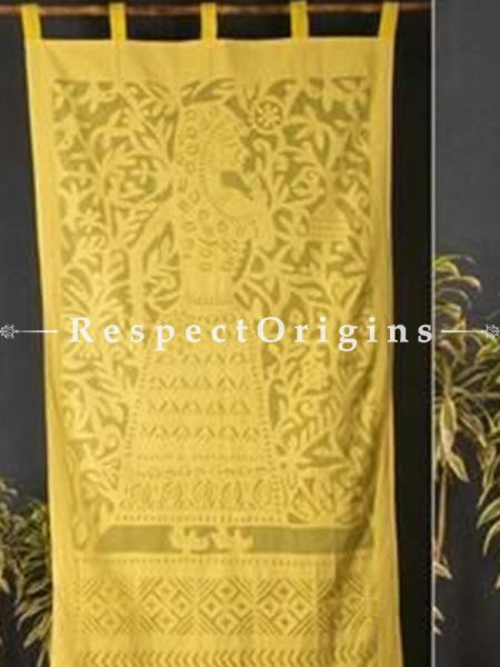 Buy Lady With Floral Design Yellow Applique Cut Work Cotton Window or Door Curtain; Pair; Handcrafted At RespectOrigins.com