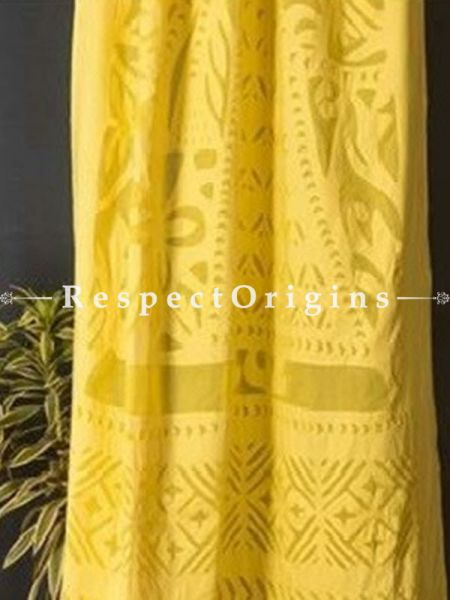 Buy Stunning Lady With Floral Design Yellow Applique Cut Work Cotton Window or Door Curtain; Pair; Handcrafted At RespectOrigins.com