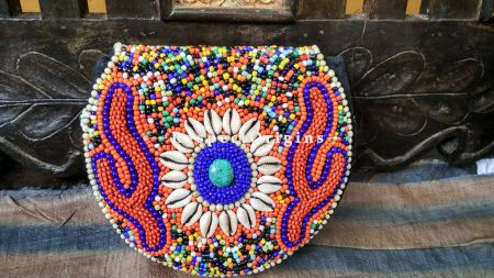 Buy Handmade Red & Blue Turquoise Shells & Beaded Ladakhi Evening Sling Clutch at RespectOrigins.com
