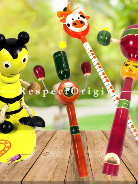 Buy Children Rattles and Joker Set; Channapatna Toys; Safe and non-toxic Colors At RespectOrigins.com