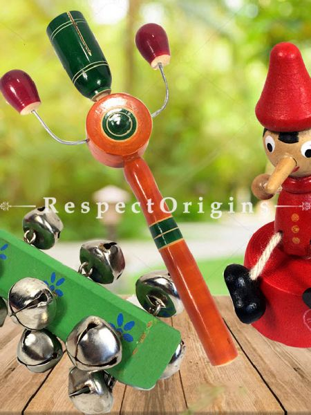 Buy Wooden Rattles and Joker Set; Channapatna Toys; Safe and non-toxic Colors At RespectOrigins.com