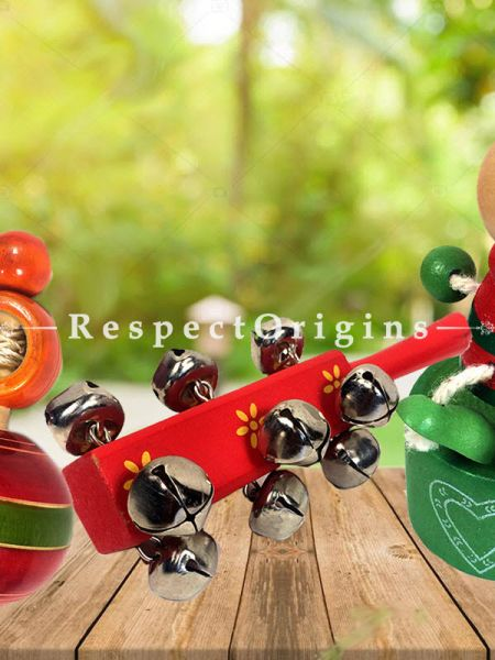 Buy Joker, Rattle and Latoo Set; Channapatna Toys; Safe and non-toxic Colors At RespectOrigins.com