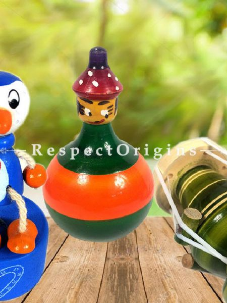 Buy Lattoo, Joker and Dhol Set; Channapatna Toys; Safe and non-toxic Colors At RespectOrigins.com