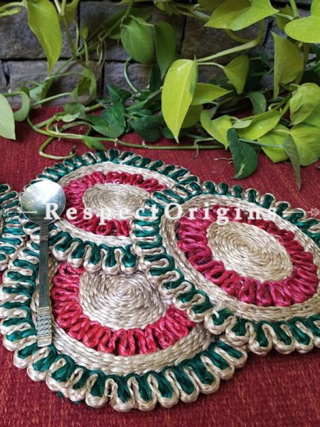 Ecofriendly, Handmade, Set 5 Red and Green organic Jute Place Mats