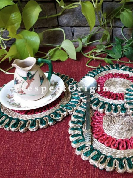 Handmade, Set 5 Red and Green organic Jute Place Mats