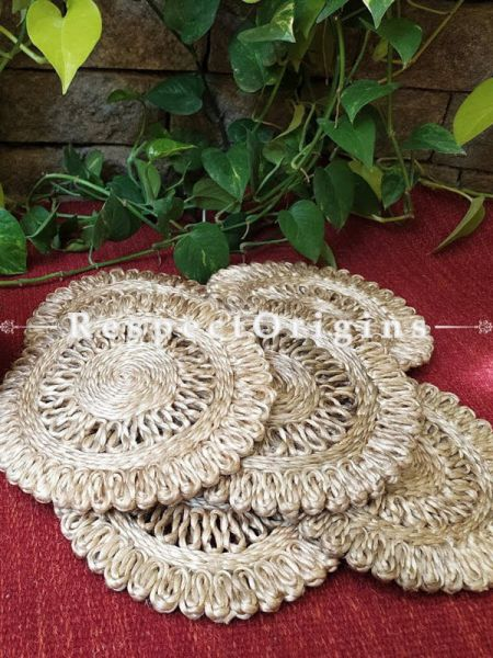 Handmade, Set 5 Natural Round Place Matsin braided organic Jute