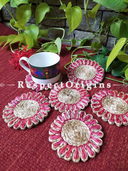 Ecofriendly, Handmade, Red and Natural organic Jute Coasters