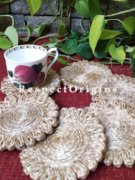 Ecofriendly, Green Products, Set 6 Natural organic Jute Coasters