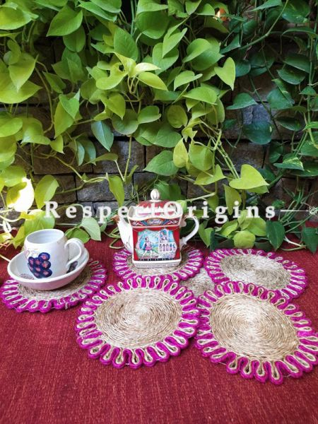 Round Jute Table Mat or Place mat Set of 6; Available in Pink Colors Border; RespectOrigins