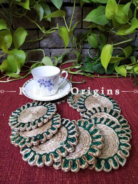 Ecofriendly, Set 6 Green and Natural organic Jute Coasters