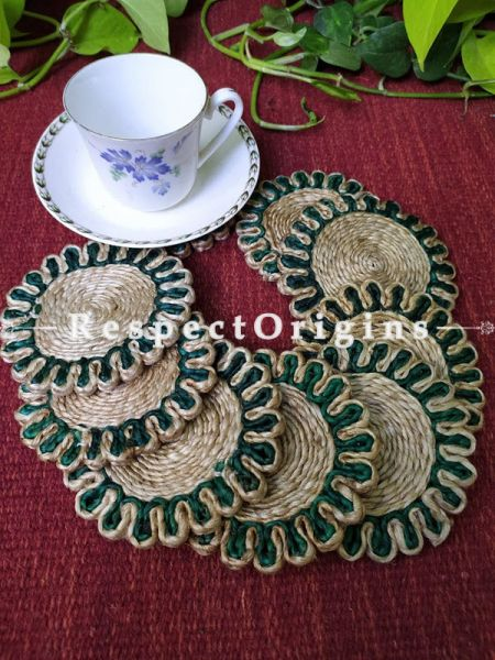 Round Jute Table Mat or Place mat Set of 6; Available in Green, Pink, Purple Colors Border; RespectOrigins