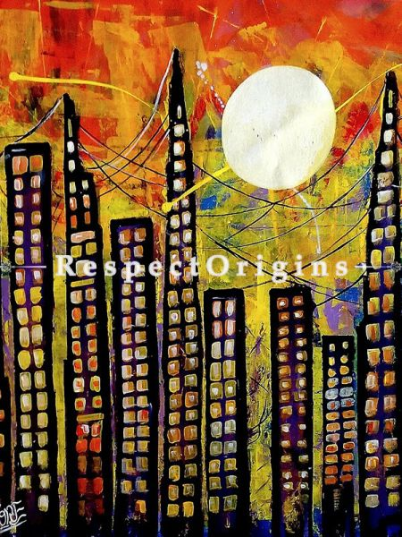 Handpainted Abstract - High Rise Acrylic On Canvas Painting 30In X 30In at RespectOrigins.com