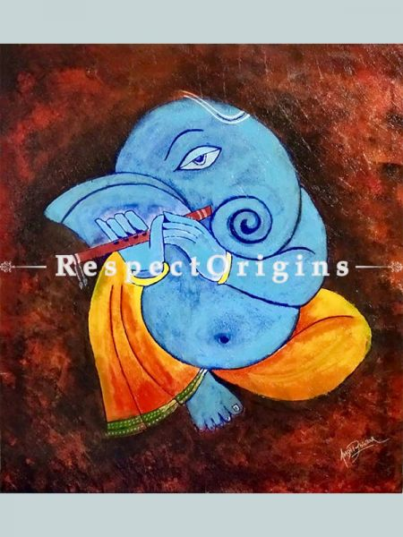 ExclusiveHandpainted Art Abstract Ganesha Art Acrylic on Canvas 25in X 26in Unframed at RespectOrigins.com