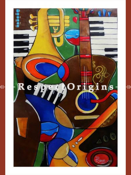 Handpainted Art Music Mania Acrylic On Canvas 16In X 25In at RespectOrigins.com
