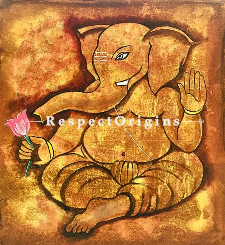 ExclusiveHandpainted GANESHA - My well Wisher Acrylic on Canvas 21in X 23in at RespectOrigins.com