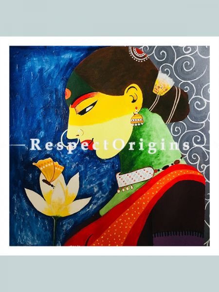 ExclusiveHandpainted Indian Shringar Acrylic on Canvas 24in X 24in at RespectOrigins.com