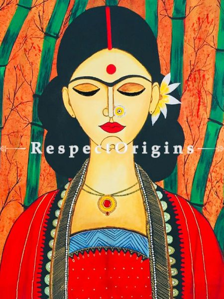 ExclusiveHandpainted Indian women painting Acrylic on Canvas 28in X 29in at RespectOrigins.com