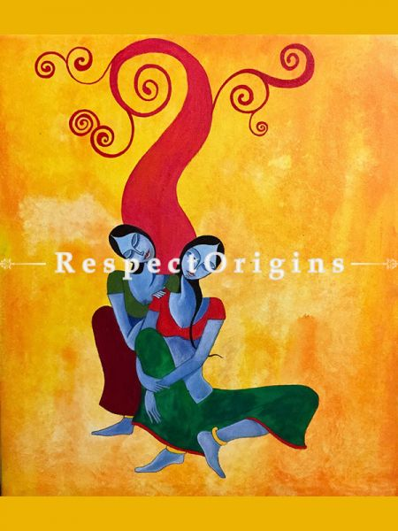 ExclusiveHandpainted Krishna ki Dasiya - Two Women multicolour contemporary Art Acrylic on Canvas 21in X 24in at RespectOrigins.com