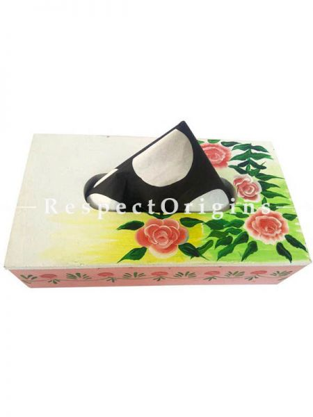 Buy Hand-painted Light Pink Rectangular Tissue Holder or Napkin box; Wood At RespectOrigins.com