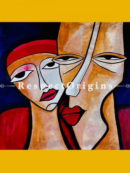 ExclusiveHandpainted Mixed Emotions - Modern art Acrylic on Canvas 30in X 30in at RespectOrigins.com
