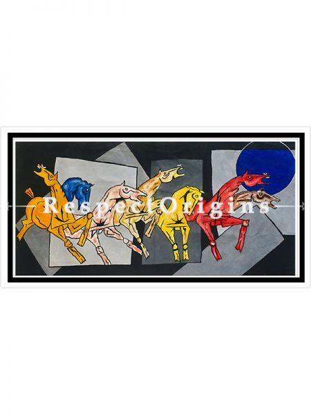 ExclusiveHandpainted Seven horses - contemporary art - Vastu lucky painting Acrylic on Canvas at RespectOrigins.com