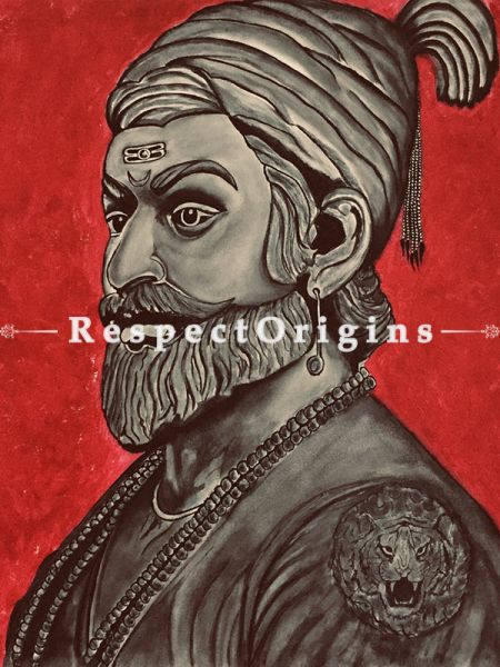 ExclusiveHandpainted Shivaji Maharaj Realistic Painting Acrylic on Canvas 24in X 24in at RespectOrigins.com