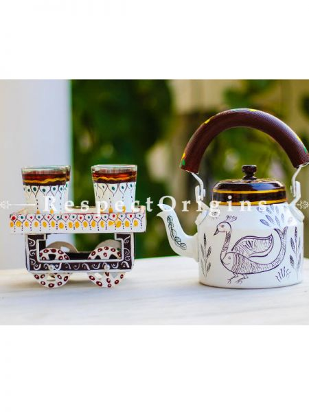 Hand Painted Tea Cart Set; 1 Kettle With 4 Glass 1 Thela Cart; Tea Chai Glass; 100  ml, Kettle; 8.5 inch, Thela Cart; 5 X 7 Inches; Ivory; RespectOrigins.com