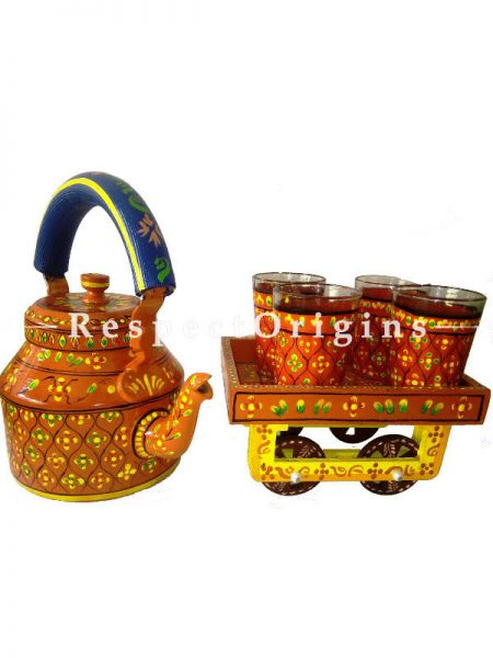 MultiColor Hand Painted Tea Cart Set; 1 Kettle With 4 Glass 1 Thela Cart; Tea Chai Glass; 100 ml, Kettle ƒ?? 8.5 inch, Thela Cart; 5 X 7 Inches; Yellow; RespectOrigins.com