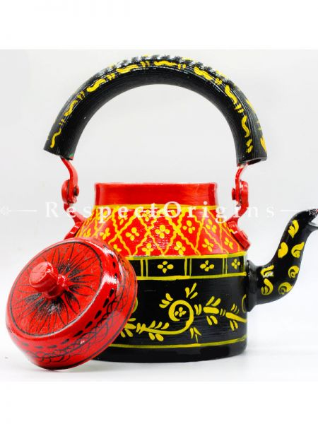 Hand Painted Tea Cart Set with Tribal Face; 1 Kettle With 4 Glass 1 Thela Cart; Tea Chai Glass; 100 ml, Kettle; 8.5 inch, Thela Cart; 5 X 7 Inches; Yellow; RespectOrigins.com