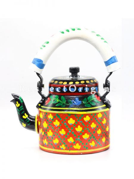 Hand Painted Tea Cart Set with Tribal Face; 1 Kettle With 4 Glass 1 Thela Cart; Tea Chai Glass; 100 ml, Kettle; 8.5 inch, Thela Cart; 5 X 7 Inches; Red & Yellow; RespectOrigins.com