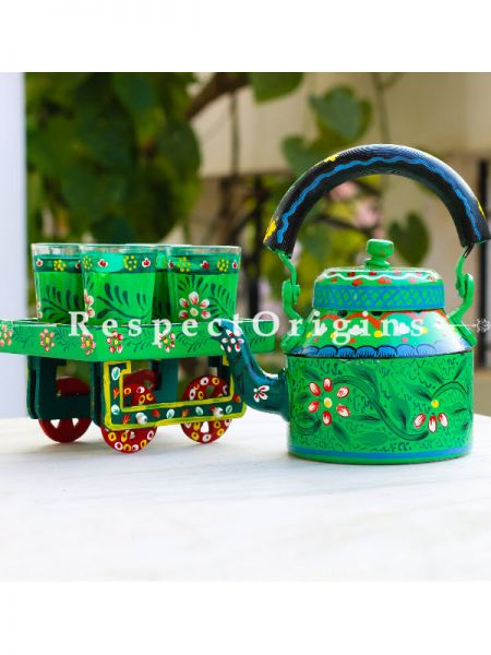 Hand Painted Tea Cart Set; 1 Kettle With 4 Glass 1 Thela Cart; Tea Chai Glass; 100 ml, Kettle ƒ?? 8.5 inch, Thela Cart; 5 X 7 Inches; Dark Green; RespectOrigins.com