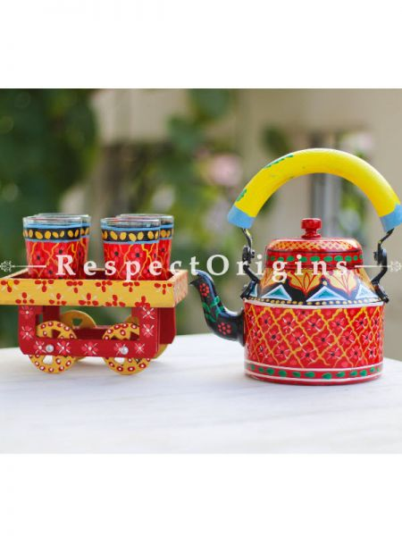 Hand Painted Tea Cart Set; 1 Kettle With 4 Glass 1 Thela Cart; Tea Chai Glass; 100 ml, Kettle ƒ?? 8.5 inch, Thela Cart; 5 X 7 Inches; Red; RespectOrigins.com
