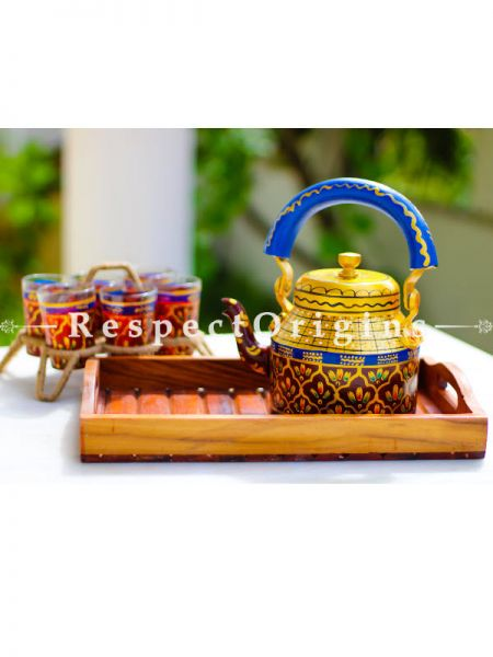 Hand Painted Tea Cart Set; 1 Kettle With 4 Glass 1 Thela Cart; Tea Chai Glass; 100 ml, Kettle ƒ?? 8.5 inch, Thela Cart; 5 X 7 Inches; Multicolor; RespectOrigins.com
