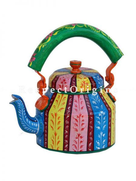 Hand Painted Multi Color Tea Cart Set; 1 Kettle With 4 Glass 1 Thela Cart; Tea Chai Glass; 100 ml, Kettle ƒ?? 8.5 inch, Thela Cart; 5 X 7 Inches; RespectOrigins.com