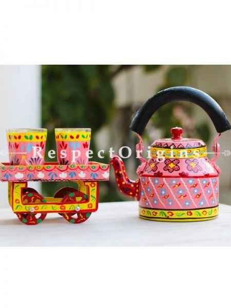 Hand Painted Tea Cart Set; 1 Kettle With 4 Glass 1 Thela Cart; Tea Chai Glass; 100  ml, Kettle ƒ?? 8.5 inch, Thela Cart; 5 X 7 Inches; Pink; RespectOrigins.com