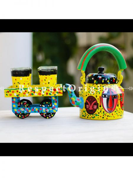 Hand Painted Tea Cart Set with Tribal Face; 1 Kettle With 4 Glass 1 Thela Cart; Tea Chai Glass; 100 ml, Kettle ƒ?? 8.5 inch, Thela Cart; 5 X 7 Inches; Yellow; RespectOrigins.com