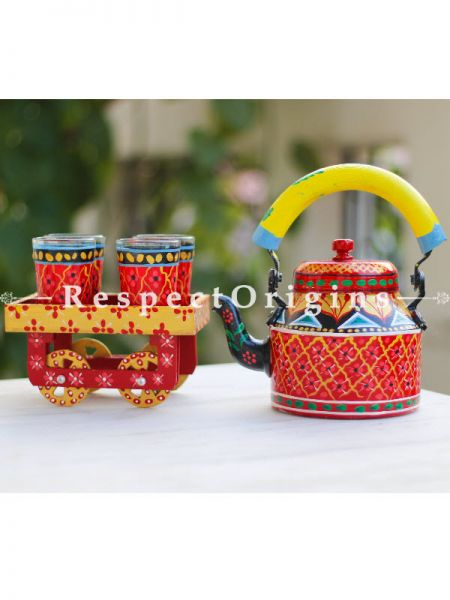Hand Painted Tea Cart Set; 1 Kettle With 4 Glass 1 Thela Cart; Tea Chai Glass; 100 ml, Kettle ƒ?? 8.5 inch, Thela Cart; 5 X 7 Inches; Red & Yellow Handle; RespectOrigins.com